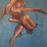 Repos - D'après un dessin de L. de Boulogne - Huile et Acrylique sur toile - (55 x 46 cm)