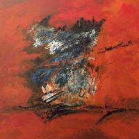 Abstraction - Huile sur bois (38 x 45 cm)