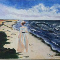 Balade en bord de mer - Huile sur toile - (46 x 27 cm)