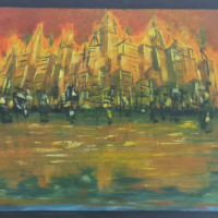 Cityscape  - Acrylique sur bois (65 x 43 cm)