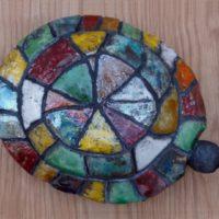 Tortue - Terre cuite - Émaillage raku - (29 x 21 cm)