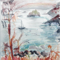 Plage de Vilin Izella - Aquarelle - (30x40 cm)