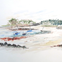 Marée Basse à Locquirec - Aquarelle - (30x40 cm)