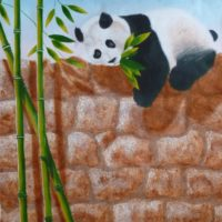 Le Panda - Acrylique sur papier kraft - (107 x 95 cm)