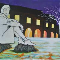Une dame en hiver - huile au couteau - (65x50cm)