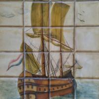 Frégate sous pavillon France - huile sur papier bristol - (61 x 40cm)