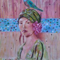 Le jeune fille à l'oiseau - Huile sur toile - (30 cm x 40 cm)
