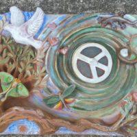 Plaque d'ornementation - Moyen relief - Terre cuite patinée aux ocres de Roussillon- (30x40cm)
