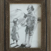 La Petite Fille et le Soldat - Crayon - (Hors cadre 20 x 14 cm)