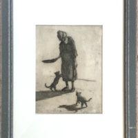 La vieille dame et les chats - Crayon - (Hors cadre 23 x 17 cm)