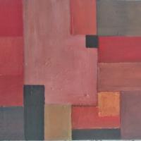 Carré noir en opposition (2019) - Huile sur toile - (38 x 46 cm)
