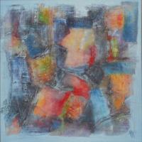Brocante - Acrylique et collage sur châssis toilé coton - (60 x 60 cm)
