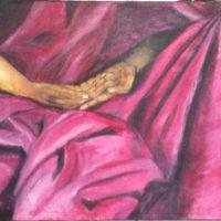 Main dans la Main - Huile sur toile de jute - (122 x 86 cm)