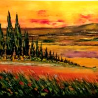 Paysage provençal-1- Huile sur toile