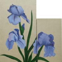 Les Iris - Huile sur toile- (dim : 60 x 30 cm et 40 x 20 cm)