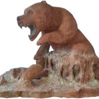 Grizzly - Terre cuite patinée aux ocres de Roussillon - (36 x 46 cm x 33 cm H)