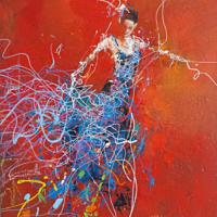 Danseuse de flamenco - Huile sur toile - (54 x 73 cm)