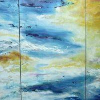 Sans titre n° 9302 - Huile sur toile - Triptyque - (82 x 155 cm)
